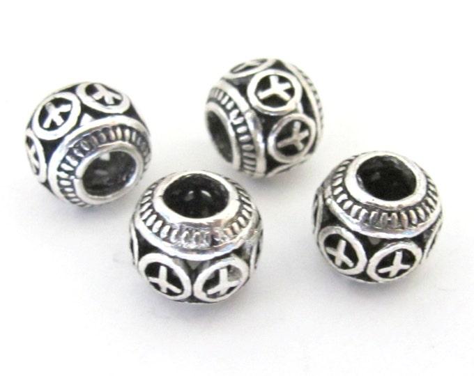 4 BEADS - Antiqued silver retro Peace symbol rondelle shape large hole beads - BD585