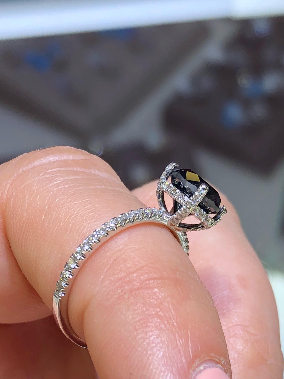 14K White Gold Black Diamond and Diamond Halo Ring Round Shape Art ...