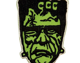 Green Frankenstein Patch Classic Monster Zombie Embroidered Iron On Applique
