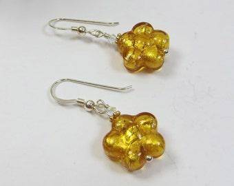 Topaz Murano Venetian Little Flowers Earrings, 24kt Goldfoil Venetian Murano Glass,Swarovski Crystal, Murano Sterling Flower Earrings