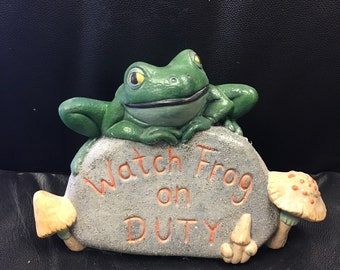 Ceramic Painted Frog - Watch Frog On Duty!