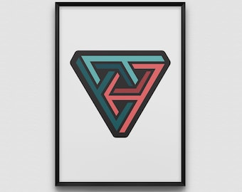 Impossible Triangle Geometry Art Print Illustration Graphic Design Modern