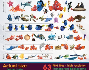 Finding Nemo clipart -  Digital 300 DPI PNG Images, Photos, Scrapbook, Cliparts - Instant Download