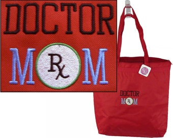 Doctor Mom Large Zipper Tote Bag Monogram Custom Embroidered Mother's Day Gift