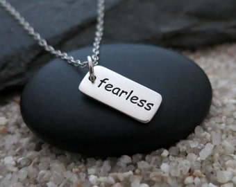 Fearless Necklace, Sterling Silver Fearless Charm, Inspiration Jewelry