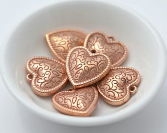 Vintage Copper Heart Ornate Etched Pendant Charms Beads 22mm (8)