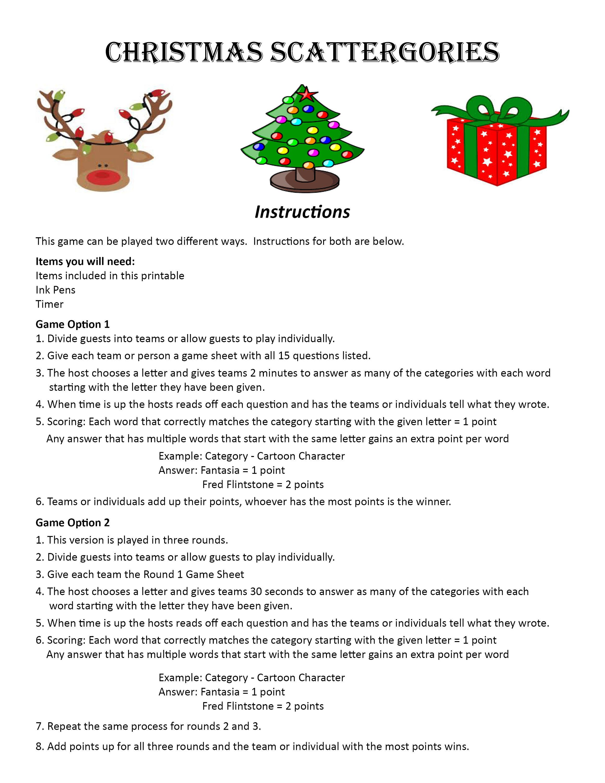 Printable Christmas Scattergories christmas scattergories printable ...