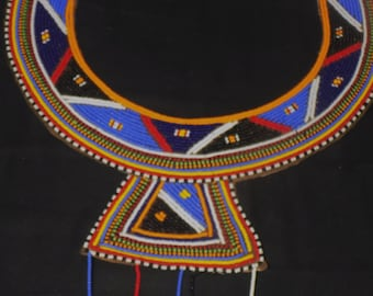 Fashion African Masai Necklace/ Ceremonial Wedding Beaded Necklace from KENYA