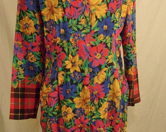Vintage 80s power dress bright floral with plaid trim by Ms Chaus size med