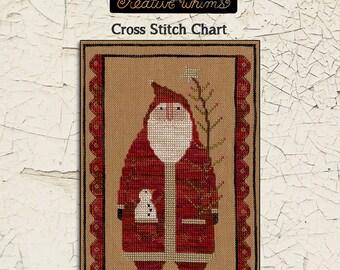 Santa | Primitive | Cross Stitch Chart | Downloadable PDF | EPattern | Needlework | DIY | Crafts | Primitive Santa | XS062