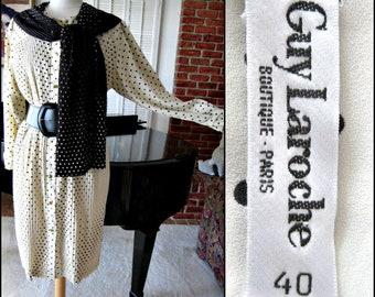 Guy Laroche Dress / Vintage Guy Laroche Dress / Guy Laroche Polka Dot Dress / fits M-L / Micro Pleat French Dress