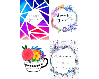 Thank You Cards, pack of 8 assorted