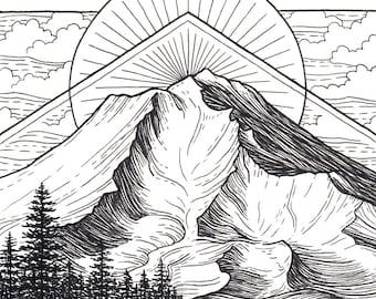 Mt Shasta 5x5 Print - Mountain Art Giclee Print - Mount Shasta, California Drawing