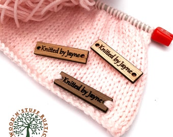 Wooden Tags, Name Tags, Personalised Tags for handmade, Clothing Tags, Crochet, Knitting, Sewing, Custom Tags, Labels, Beech, Oak,