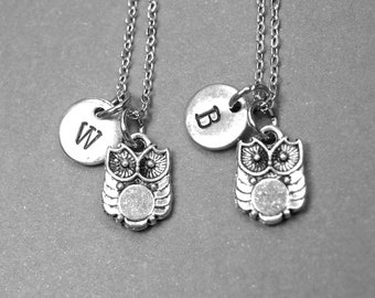 Best friend necklace, owl necklace, owl jewelry, bird necklace, BFF necklace, friendship jewelry, personalized necklace, initial necklace