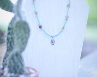 Hamsa Seed Bead Necklace