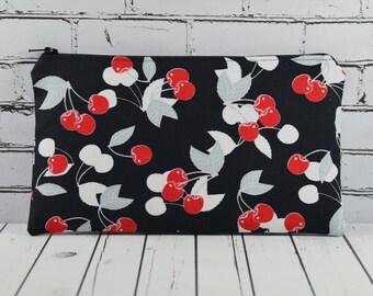 Cherries Pencil Case, Rockabilly Zip Pouch, Cherry Makeup Bag, Cosmetic Bag,