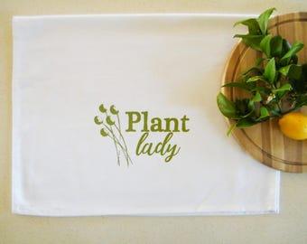Plant lady cotton tea towel