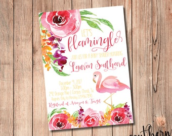 Let's Flamingle Baby/Bridal Shower, Bachelorette, or Birthday Invitation - PRINT AT HOME