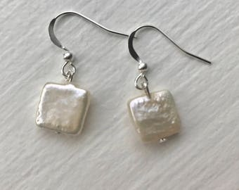 Square pearl earrings, square freshwater pearl earrings, pearl earrings, dangle pearl earrings, drop earrings, simple pearl earrings
