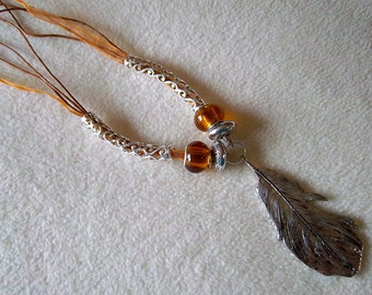 Silver Feather Amber Glass Necklace No.83