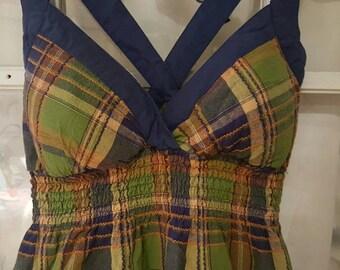 Busty Plaid Tunic Dress M