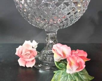 Vintage tall pedestal bowl.  Diamond pattern, scalloped top.