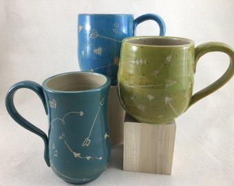 Carved Ceramic Mug / Teacup / Hand-painted / Green / Blue / Teal / Hearts and Arrows / Wheel Thrown Mug - READY TO SHIP