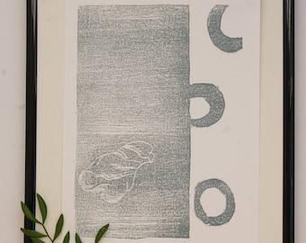 Wall art, homedecor Woodblock,woodcut , art, Print, Limited edition, shell,gray