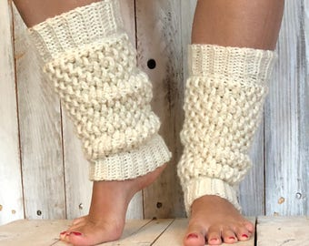 Crochet leg warmers, womens leg warmers, yoga leg warmers, boot leg warners, textured leg warmers
