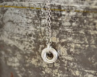 Love Knot Necklace - Dainty Infinity Necklace - Sterling Silver - Mobius Chainmail Necklace - By BALOOS STUDIO