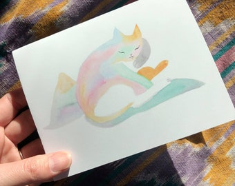 mountain crystal cat greeting card
