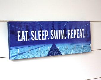 Swimming Medal Holder - Eat. Sleep. Swim. Repeat. - Medium