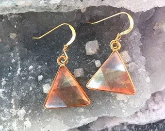 Tangerine  Aura - Marcel Vogel Earrings - set in 18kt Gold on Silver - A Grade !  Powerful