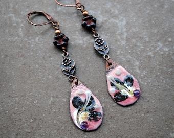 Enameled Copper Earrings, Rustic Earrings, Vintage Bohemian earrings, Artisan Copper earrings,Long Dangle Earrings, Eclectic Flower earrings