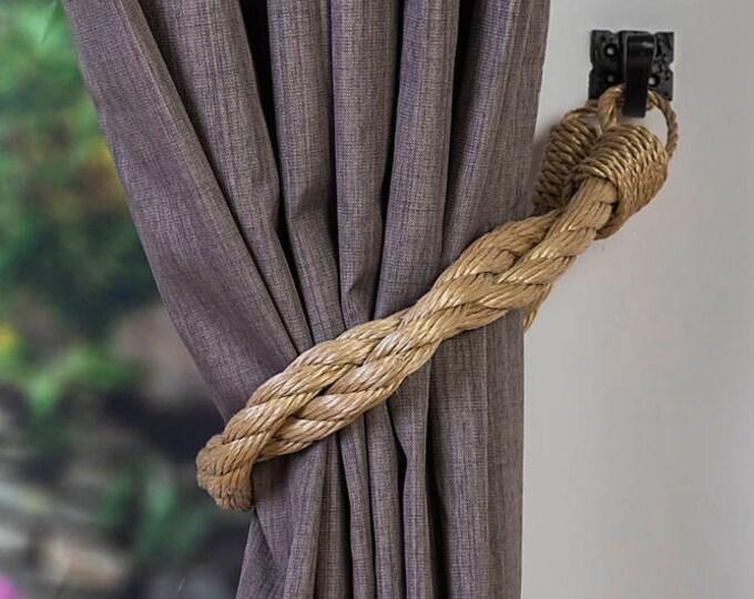 Beige Rope Curtain Tiebacks/ Shabby Chic ties/Vintage /Nautical tiebacks/Chunky Thick Ties/ Industrial holdbacks/ Rope Tiebacks/Ties