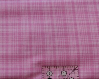 "Pink plaid  100% cotton flannel  41""-44"" wide"