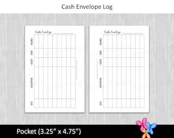 Pocket: Cash Envelope Log • Budget Binder Printable Page Insert for Pocket sized Disc or Ring Bound Planners • INSTANT DOWNLOAD