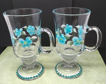 Mugs Floral Fancy Hand Painted in Aqua and White Drinkware Barware One of a Kind Unique Kitchen Decor Bar Decor Country Decor Set of TWO