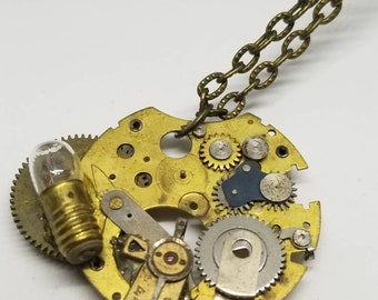 Steampunk necklace with vintage mini light bulb - Recycled watch piece jewelry - One of a kind gift - Handmade antique gold piece necklace -