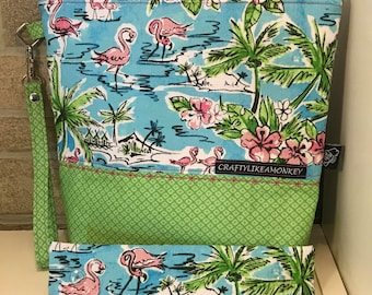 Hawaii zipper top project bag with flat bottom and knitting needle cozy - ready to ship