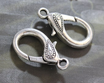 Extra Large Heart Lobster Claw Clasp, Antique Silver Lobster 5 Pieces