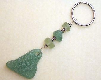Sea Glass Keyring Sea Foam Green Beach Glass Novelty Keychain Handmade Gifts for Women