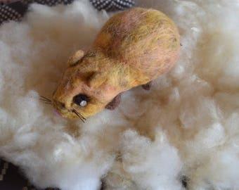 Caramel: Pig India. handmade felted wool gift Kids Toy home decor window pet guinea pig miniature mascot pin
