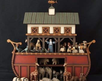 Hand carved Wood Noah's Ark, Wooden Ark, Wood Noah's Ark, Heirloom Noah's Ark, Handmade Wooden Noah's Ark