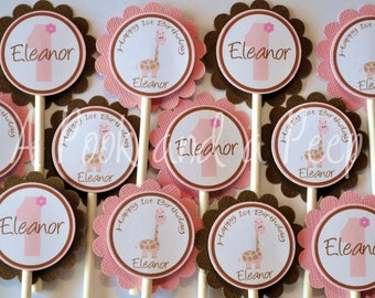 Pink and Brown Giraffe Birthday or Shower Cupcake Toppers Cupcake Picks Personalized Set of 12