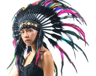 ON SALE Indian feather headdress replica, black and multicolored feather headdress, short length, native american inspired costume