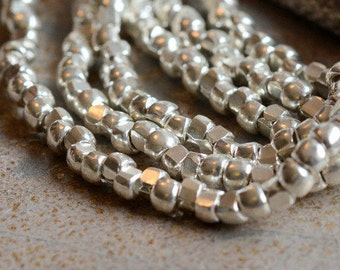 Hill Tribe Silver Beads, Thai Silver Beads, Silver Beads, Hill Tribe Spacer Beads, 3.5x3mm,2mm Hole, Handmade Beads, Pack of 100, AL15-020