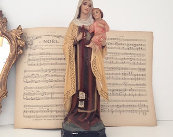 "Child polychrome plaster statue Virgin (35 cm - 13,77 """"). Nineteenth century."