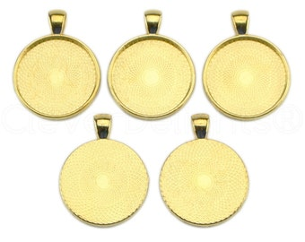 "100 - 1"" Pendant Trays - Gold - 25mm Round Pendant Settings - Vintage Antique Style Pendant Blanks Bezel 25 mm 1"" Diameter"